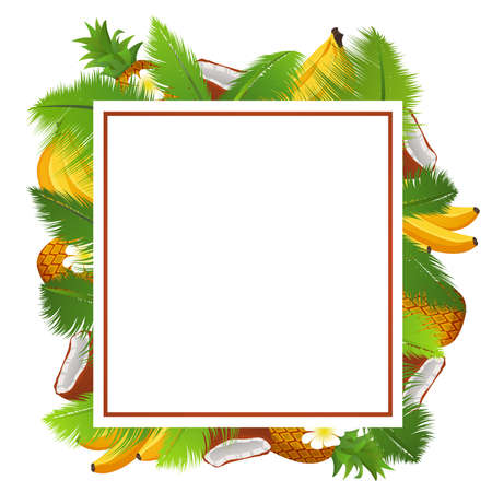 Tropical template of a frame for a banner with palm leaves and coconuts,pineapple and banana.