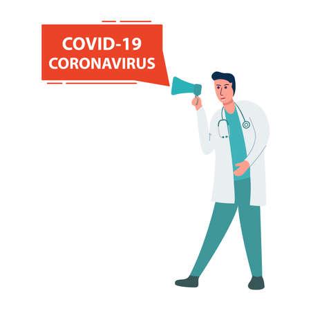 hospital staff coronavirus notification. A doctor warns about a covid 19.