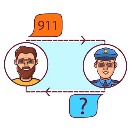Call of police.Call 911, emergency call concept.Police officer s conversation with the man.