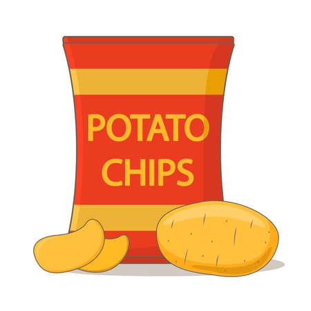Potato chips package bag. Vegetable potatoes. Flat vector.