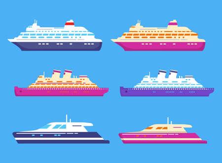 Cruise ship. Passenger ocean liner. Cruise luxury yacht. Ilustración de vector