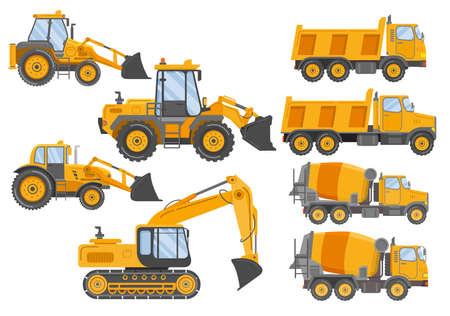 Construction track bulldozer backhoe dipper.Hydraulic excavators.Concrete mixer truck.Construction equipment tractor.
