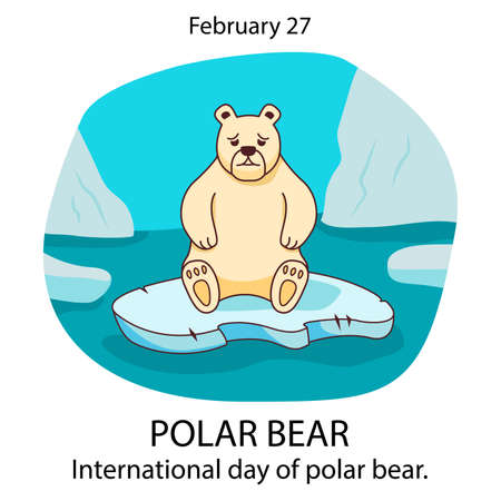 Polar bear sad on an ice floe in the sea. International day of a bear. Stock Illustratie