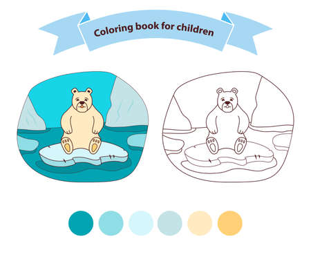 Polar bear sad on an ice floe in the sea coloring book for children. Stock Illustratie