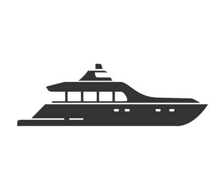 Black silhouette of a yacht. Sea ship. Nautical vessel flat illustration vector. Illustration