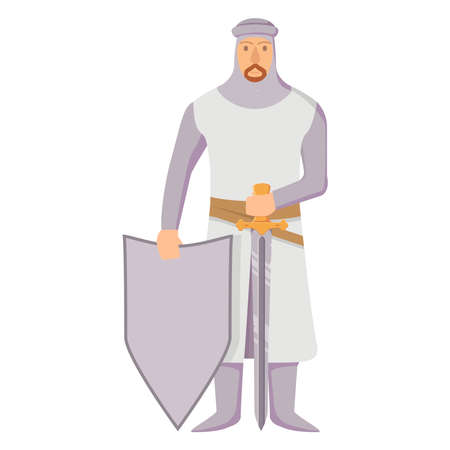 Medieval knight in armor with a shield and sword.Warrior cartoon character. Illusztráció