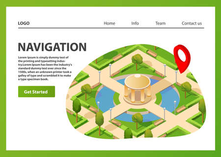 Isometric map mobile GPS navigation. Public summer park navigator pin red color. Stock fotó - 156087513