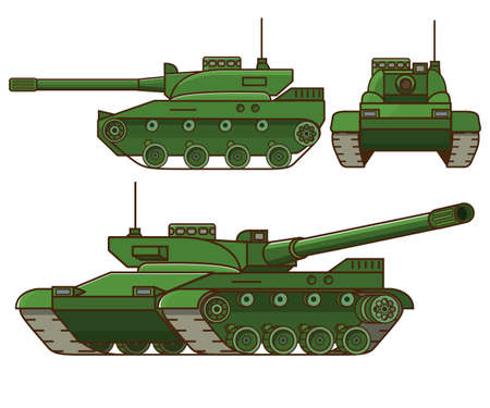 Modern tank military.Isolated on white background. Flat vector. Vector Illustration