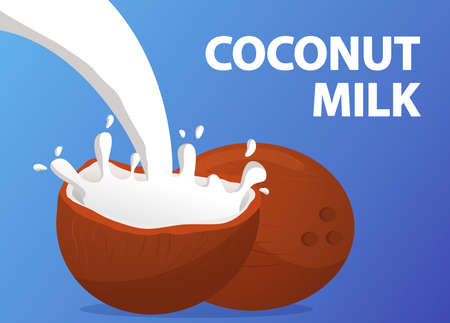 Coconut milk splash on blue background.Non dairy vegan food and drink.