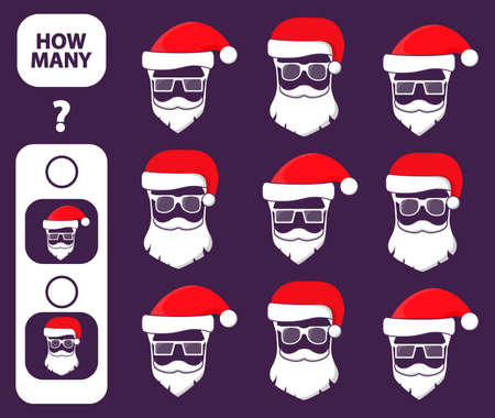 Count how many Santa Claus is educational game. Maths task development of logical thinking of children. Illusztráció