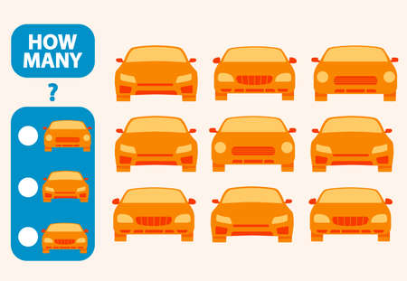 Count how many toy cars is educational game. Maths task development of logical thinking of children.