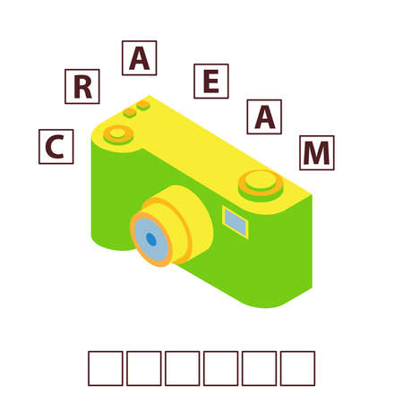 Game words puzzle isometry photo toy camera.Education developing child.