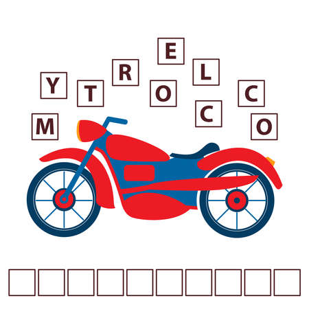 Game words puzzle cartoon motorcycle.Education developing child.