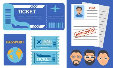 Airline ticket design.Flight tickets passenger plane.Passport or visa application.