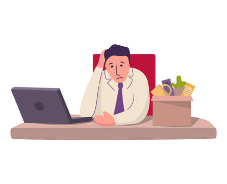 Dismissed sad man from job his desk on the laptop computer. 向量圖像