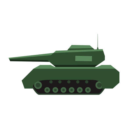 Military army green tank. Tank with a gun in the tower. Armored forces.