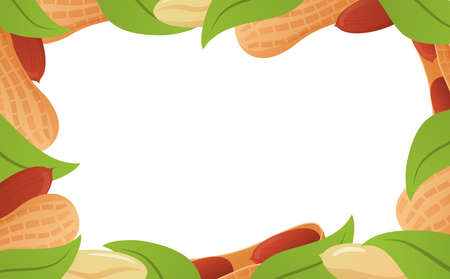 Template of a frame peanut banner with leaves .Vector flat illustration.