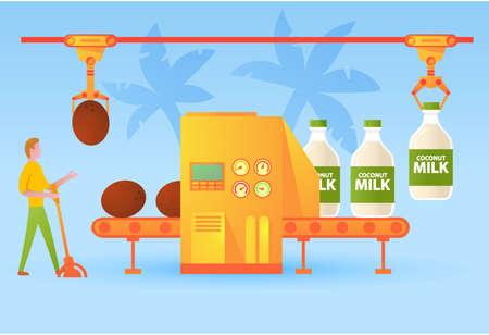 Conveyer belt factory coconut milk bottling in glass bottle.