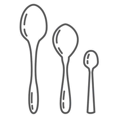 Set of tableware. Table and tea and dessert spoon. In flat style vector.
