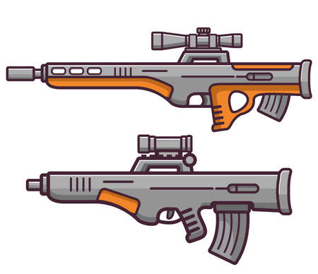 Bullpup firearms sniper rifle.Weapons guns.Set submachine gun modern assault.