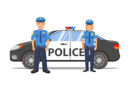 Police officer man and woman cartoon character.Police car sedan side view.