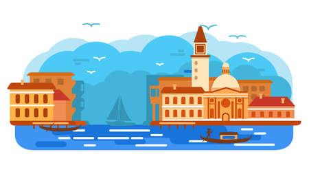 Venice city of Italy gondola .Sea landscape canal.Gondolier rowing oar. Ilustrace