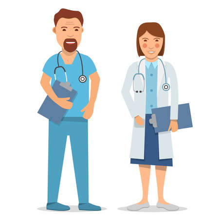 Medical staff. Male and female nurse,doctor. Isolated on a white background.