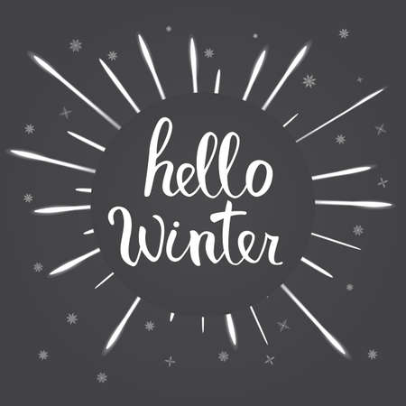 Hello Winter lettering fireworks.Greeting card, t-shirt, prints and posters.