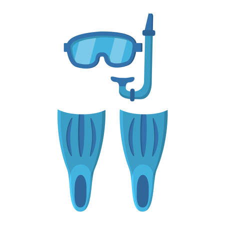 Diving mask and tube, Swimming equipment, flippers isolated on white background.