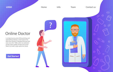 The young man ask a route in the smartphone. Web page. Website template. Flat vector. Ilustrace