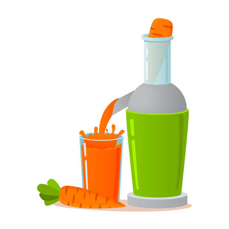 Electric juicer.Fresh carrot juice. A concept for vegeterianets. Healthy lifestyle.