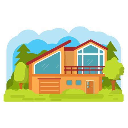 Modern suburban american house. Family home. Flat vector.