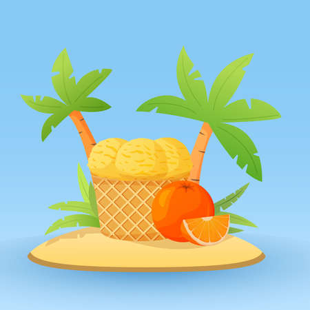 Orange ice cream in waffle cones.Concept of banner with tropical island and palm trees.