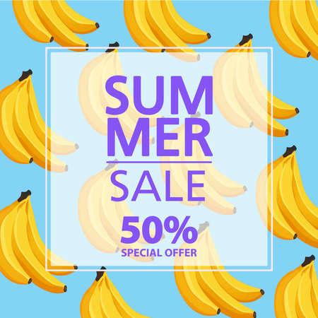Summer sale banner. Offers a 50 discount. Website banner concept.