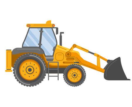 Yellow bulldozer tractor. Construction machine. Manufacturing Equipment. Vettoriali