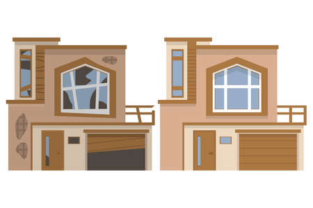 Modern house before and after repair. Old run-down home.