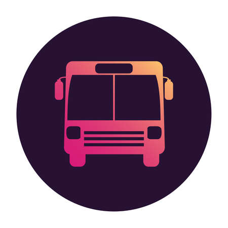 Bus icon. Public transport. Vehicle cabin. Front view.