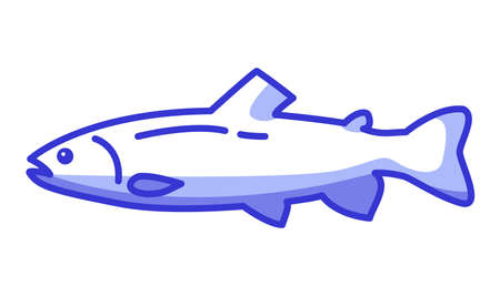 Salmon fish icon. Flat blue vector line art.Symbol for a mobile application or website.
