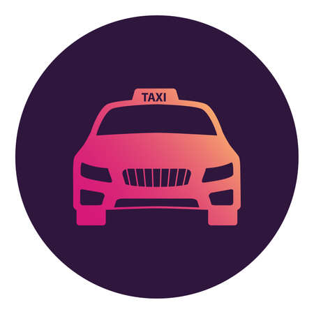 Taxi icon service. Car front view. Symbol for a mobile application or website. 版權商用圖片 - 157137675