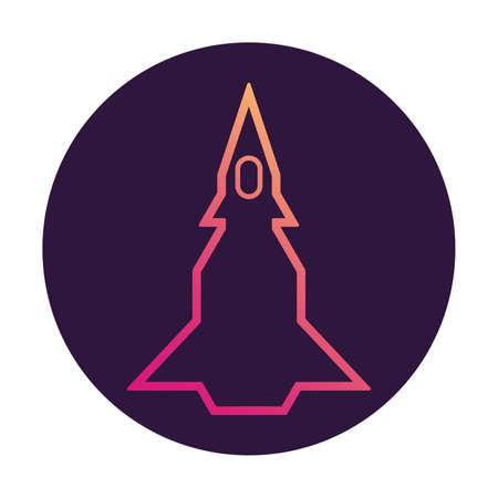 Space rocket.Spaceship icon. Flat line art vector. 向量圖像