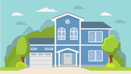 Classical suburban american house.Family home.Townhouse building apartment. Ilustração