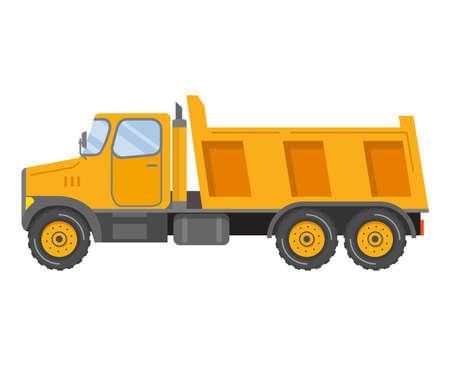 Construction equipment dumper truck. Tipper car side view. Commercial truck.