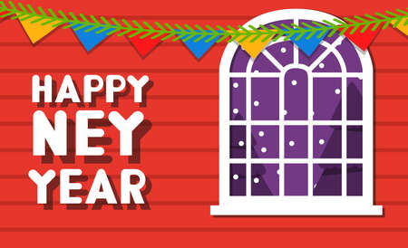 Happy new year window decoration. Vector flat Greeting card.Night winter landscape.The snow falling outside the window.