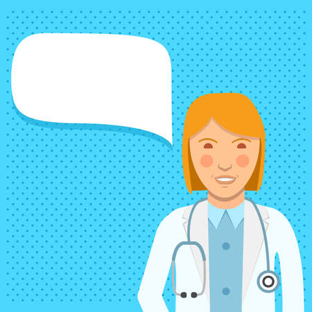 Speech bubble doctor. A woman surgeon with a stethoscope in a uniform. 向量圖像