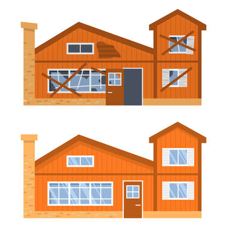 Modern house before and after repair. Old run-down home. Renovation building.