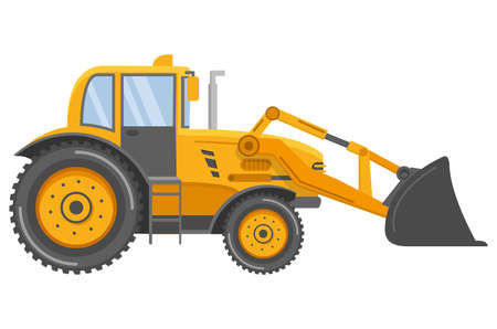 Yellow bulldozer tractor.Construction machine. Side view.Flat vector.