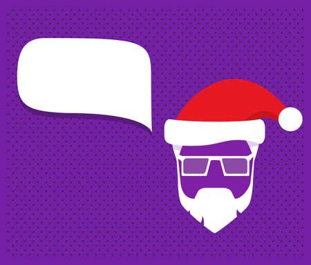 Speech bubble santa claus hats, beard,moustache and glasses.