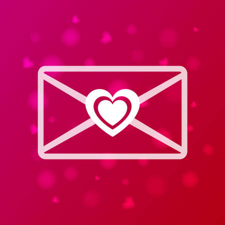 Valentine s Day envelope.Love letter and email icon.