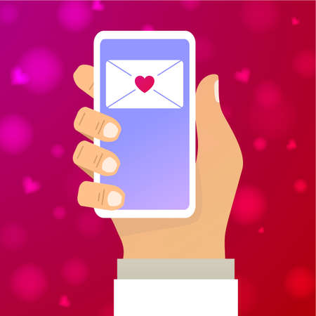 Hand hold app on smartphone.Concept for web banner for St. Valentine s Day.