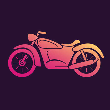 Motorcycle icon gradient.Vehicle flat.Isolated on a blue background.